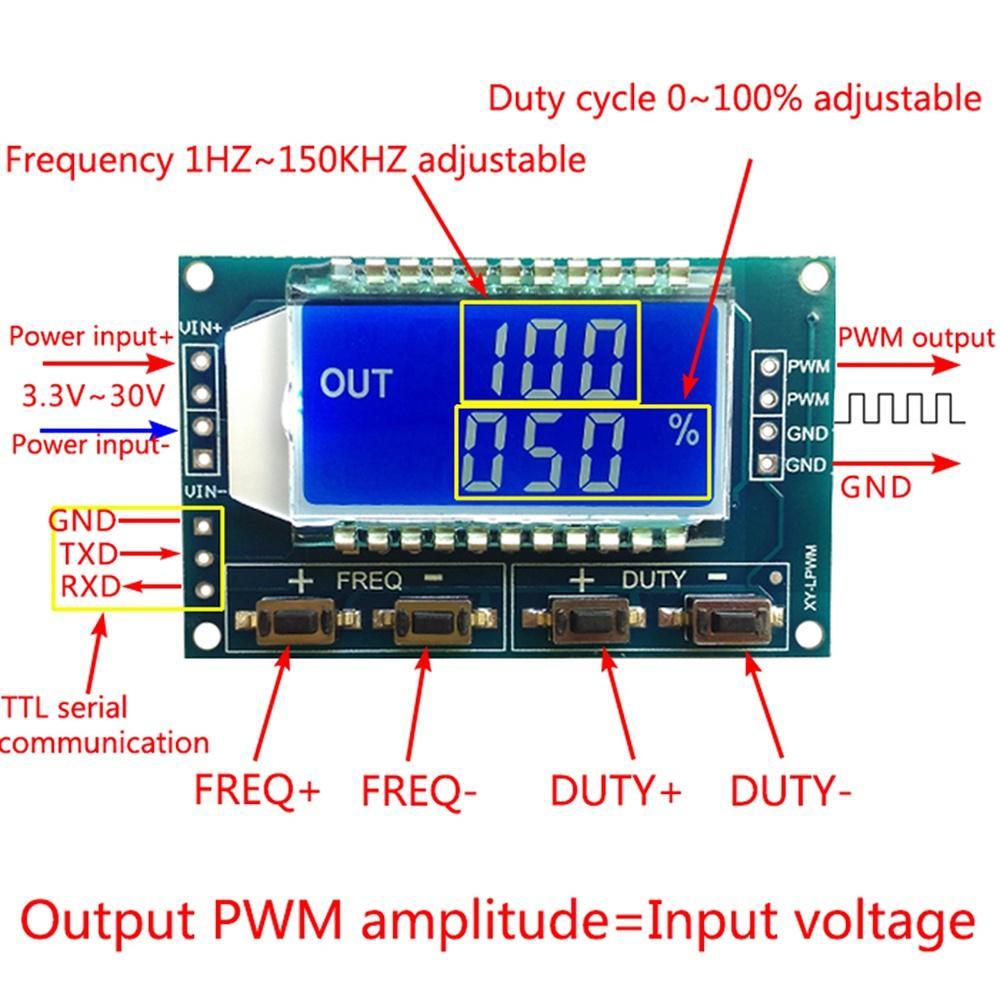 Générateur de signal PWM Pulse fréquence Duty Cycle réglable Module Affichage LCD