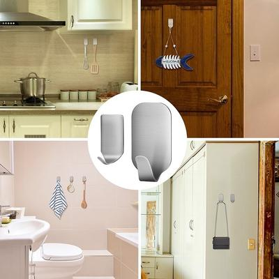 Kitchen Wall Door Stainless Steel Self Adhesive Towel Stick Holder Hook Hanger