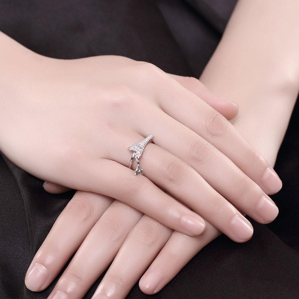 925 Sterling Silver Eiffel Tower Ring With Crystal For Women Wedding ...