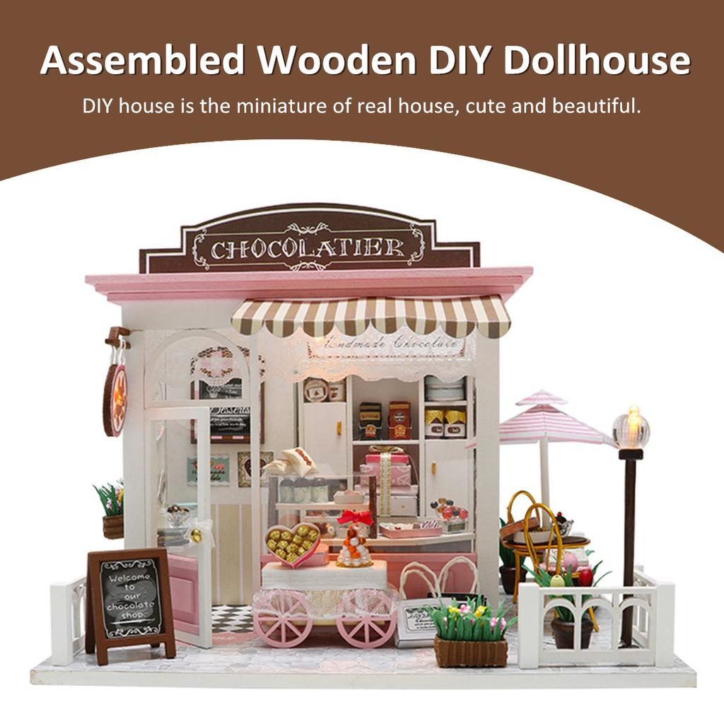 DIY Dollhouse Wooden Miniature Furniture Kit Mini Green House with LED Light New
