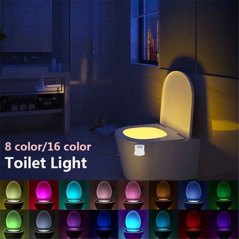 8 Colors Automatic Toilet Sensor Night Lamp LED Motion Bowl Bathroom Light