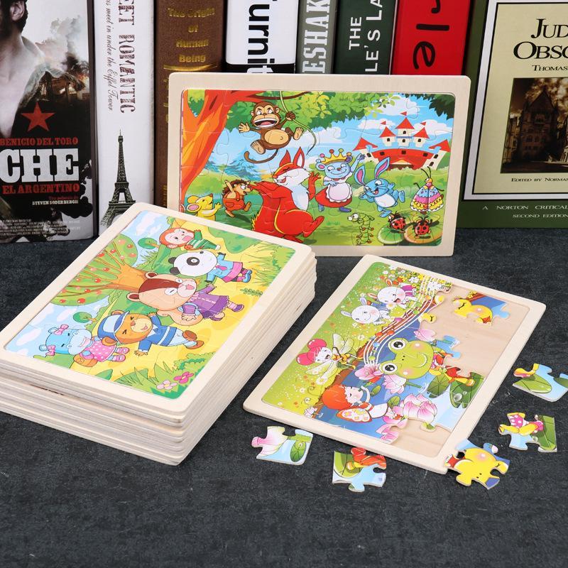 24 Кусочки Дети Деревянная головоломка Игрушка Мультфильм Животные Детские деревянные головоломки головоломки образовательные обучающие игрушки для детей фото