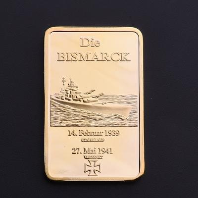 Bismarck Vergoldete Schlachtschiff Münzen Marine Deutsche Souvenir