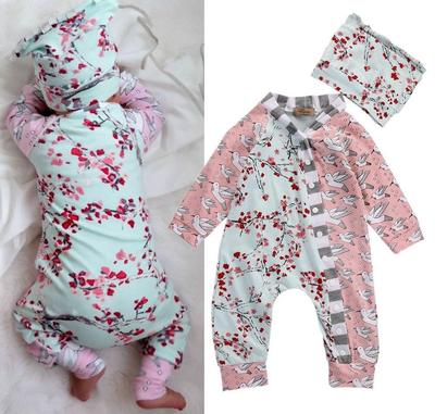 30373f8ae25f Newborn Baby Girl Bodysuit Clothes Floral One Piece Romper Jumpsuit Home  Outfits