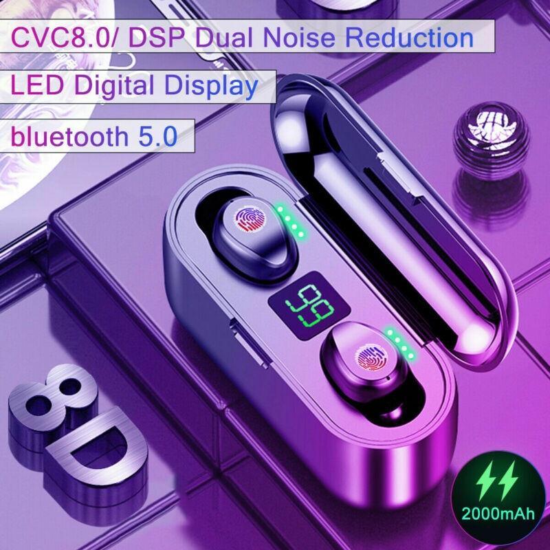 F9 Bluetooth 5.0 TWS 8D HIFI гарнитура Беспроводные наушники водонепроницаемый сенсорный контроль с 2000mAh Зарядка Дело фото