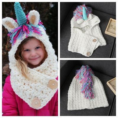 Cálido invierno sombrero de los cabritos con bufanda chal con capucha  unicornio capa gorro lana de 48428d26881