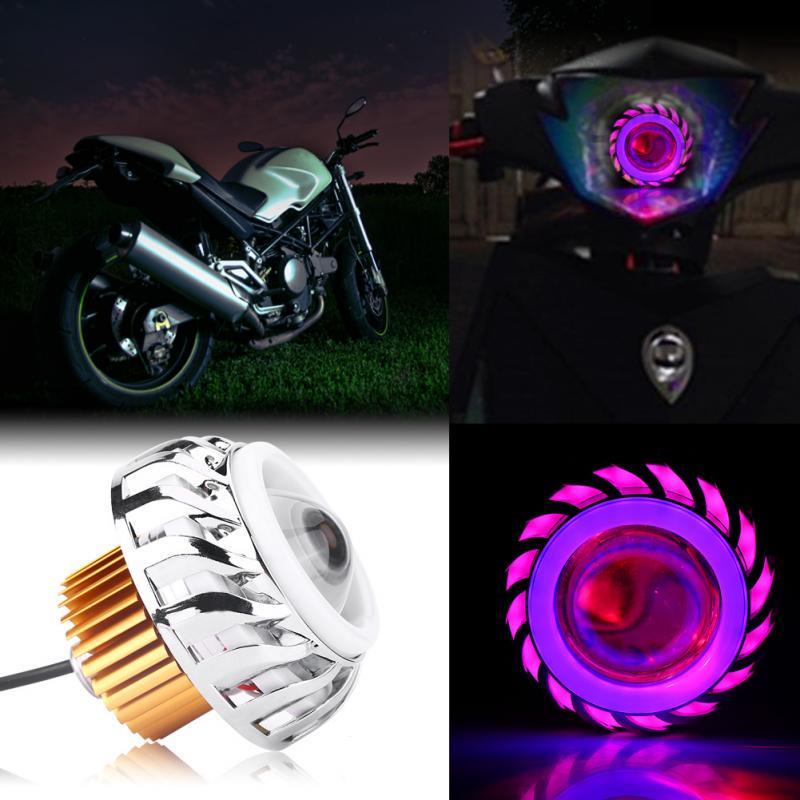 Super Bright 12V Motorcycle Universal LED Headlight Projector Lens Dual Angel Devil Eye Motorbike Head Lamp Cyclone-Type Blue + Pink