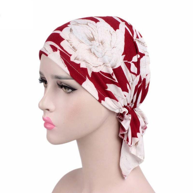 Femmes Sommeil Doux Turban Pr/é Tied Indien Chemo Cap Bonnet Turban Couvre-Chef Muslin Hijab Head Wrap