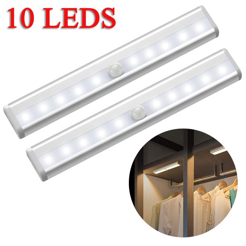 LED Night Puck Lights PIR Motion Sensor Kitchen Cabinet Stairs//Closet Lamp 1PCS