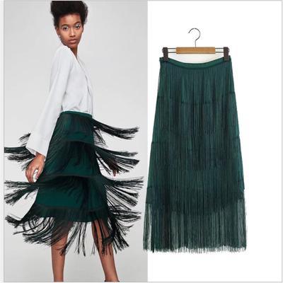 Lady Chiffon A Line Midi Skirt Laser Rainbow Gradient Elastic High Waist Casual