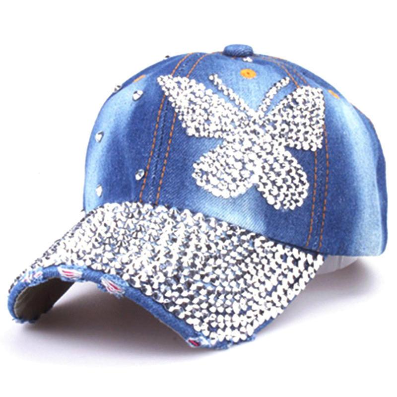 Mujeres chicas señoras béisbol Gorras mariposa algodón Rhinestones Denim  Hip Hop sombreros hueso Snapback - comprar a precios bajos en la tienda en  línea ... ed5add98cf9