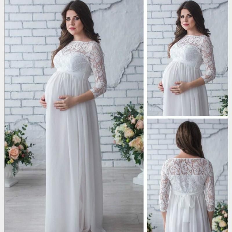 Pregnant Women Sleeveless Long Lace Dress Maternity Maxi Prom Gown Photography