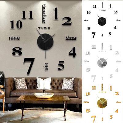 Frameless DIY Wall Mute Clock 3D Mirror Surface Sticker Home Office Decor