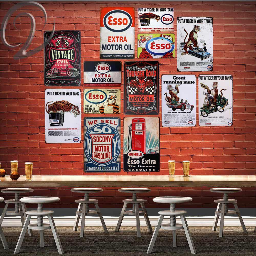 Metal Tin Sign esso motor oil  Bar Pub Home Vintage Retro Poster Cafe ART