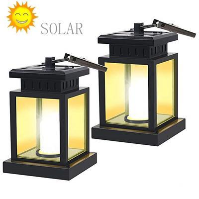 Solar LED Light Candle Lantern Waterproof Home Hang Lamp Copper Garden Way Decor