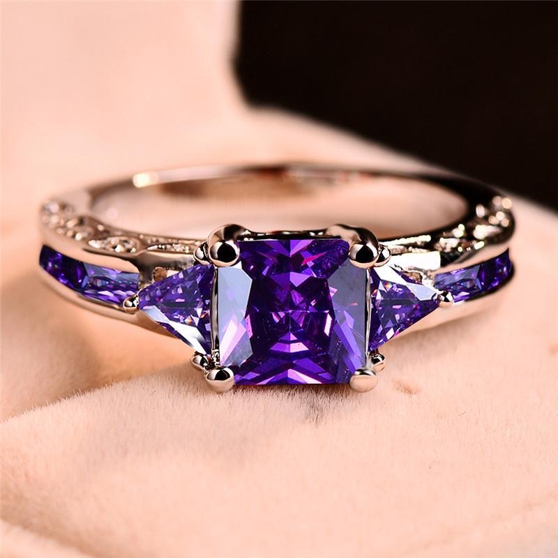 Мода женщины 18K Белое золото Принцесса Cut Фиолетовый Аметист Свадебное кольцо Участник Украшения Размер 5 6 7 8 9 10 11