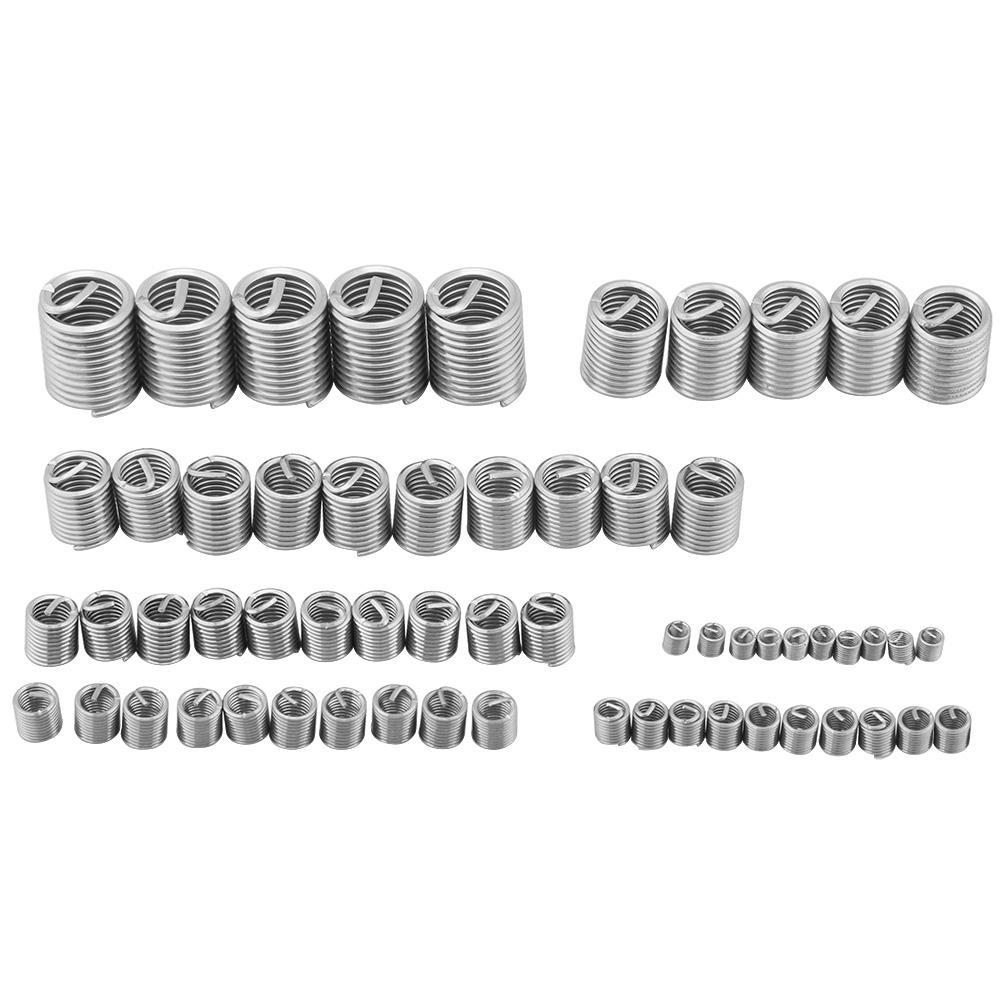 60pcs Stainless Steel Thread Repair Insert Kit Helicoil Type M3 M4 M5 M6 M8 M10 M12 Wire Thread Inserts