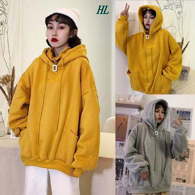 Womens Oversized Warm Zipper Hoodies Casual Long Sleeve Loose Pullover Hooded Sweatshirt Plush with Pockets Tops