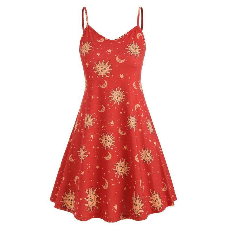 Women/'s Cami Swing Skater Dress Sun Stars Moon Floaty Flared Strappy Mini Dress