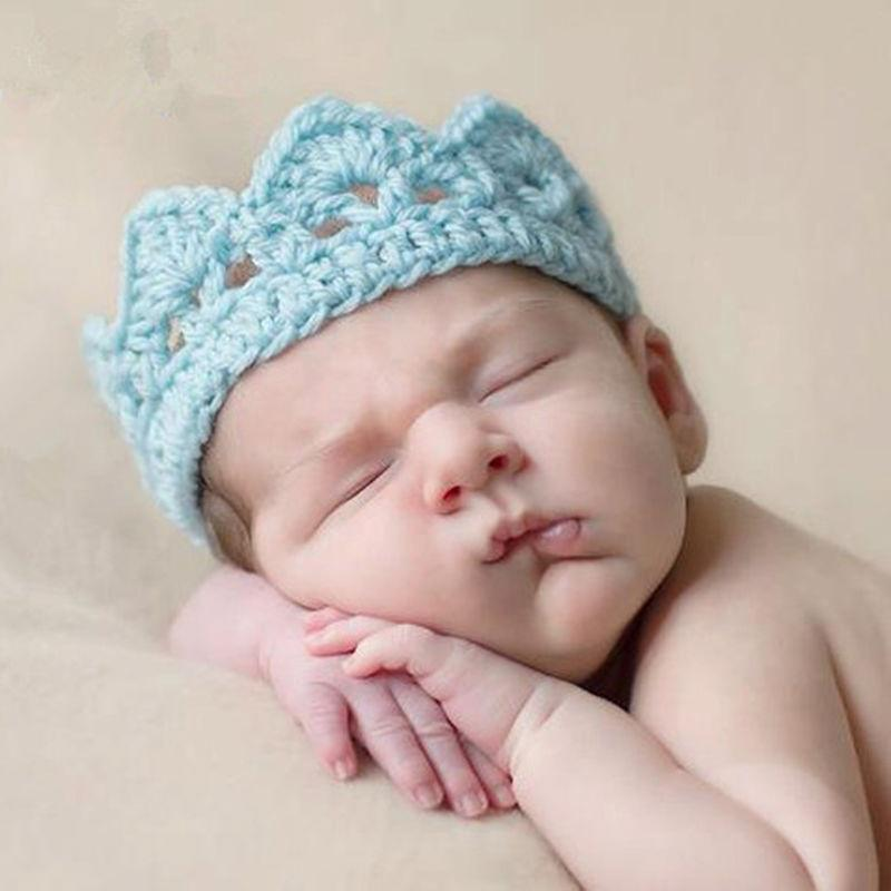 Newborn Baby Girl Boy Princess Crochet Crown Tiara Headband 2-10 Months-//