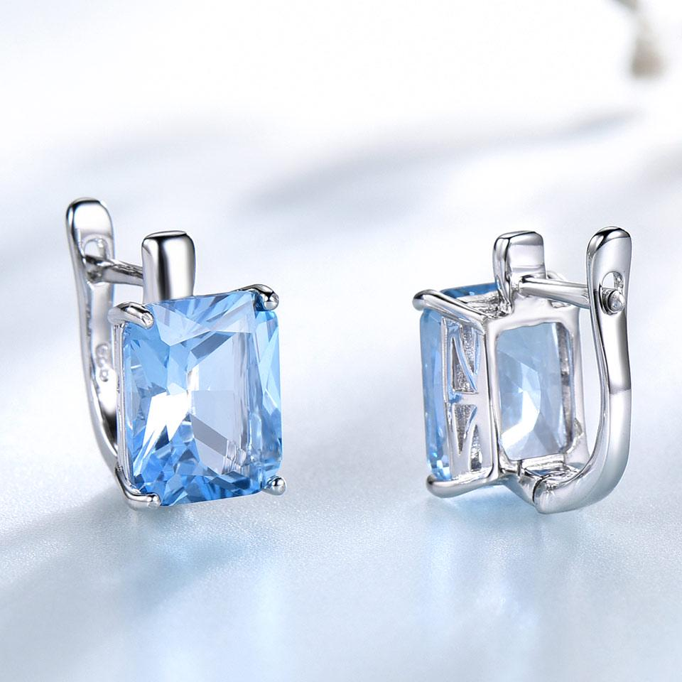 UMCHO Solid Real 925 Sterling Silver Jewelry Created Sky Blue Topaz Stud Earrings