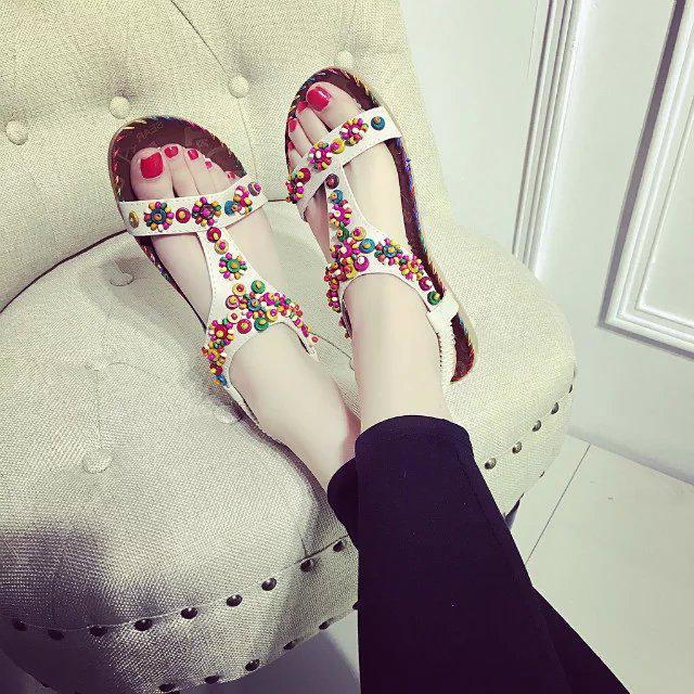 Богемные бусины декор летом пляж сандалии случайных открытых ног плоские туфли – купить по низким ценам в интернет-магазине Joom