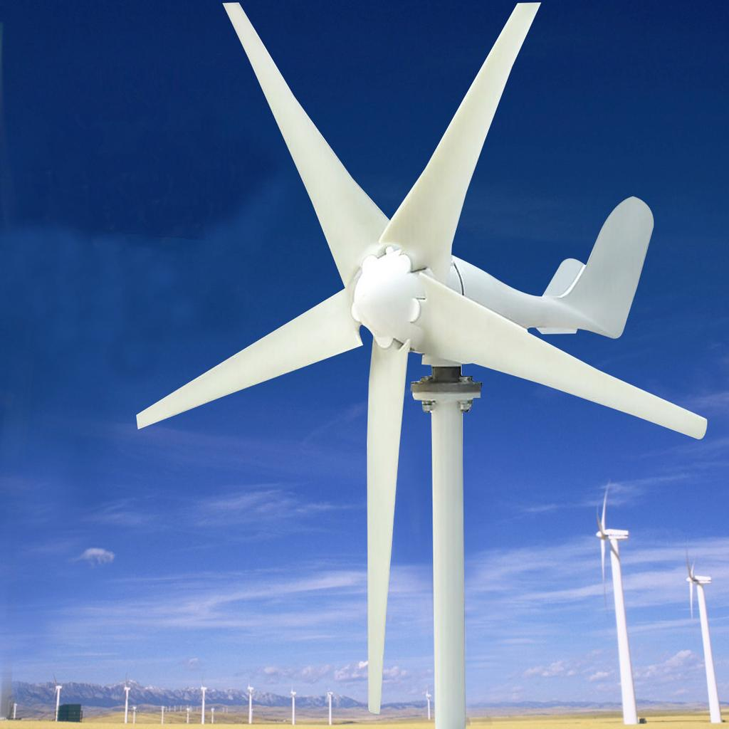 400W 24V Wind Turbine Generator Kits Aerogenerator 5 Blades w// Charge Controller