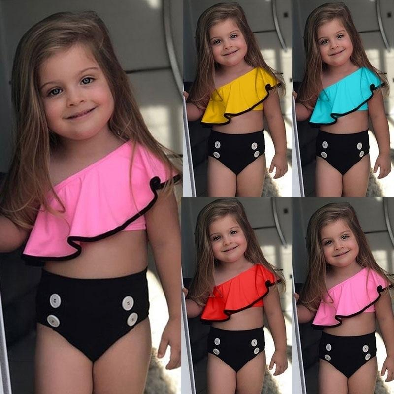 Girls Two Piece Swimsuits Swimwear Bikini Beach Bathing Suits for Children Kids Backless Sling Swimsuit With Headhand