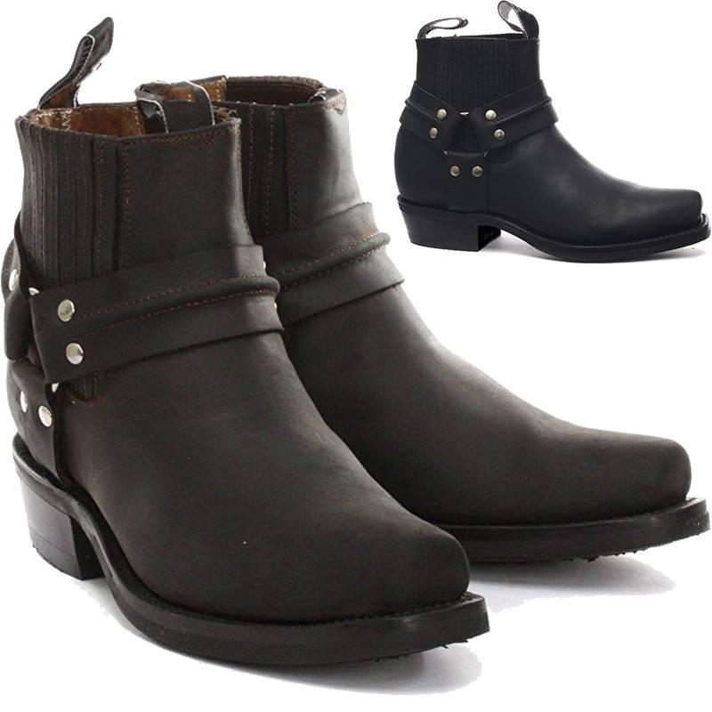 Cowboy Men/'s Ankle Boots Retro Shoes Square Toe Biker Riding Slip On Knight Chic