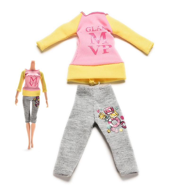 2 ПК / Установить повседневную одежду Весна Осенняя блузка Брюки Барби фото
