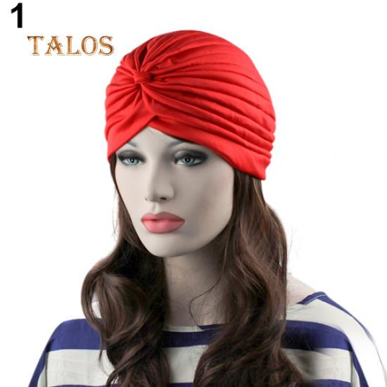 Abrigo de la moda mujeres estilo indio elástico plisado turbante ... 56ebee9a322