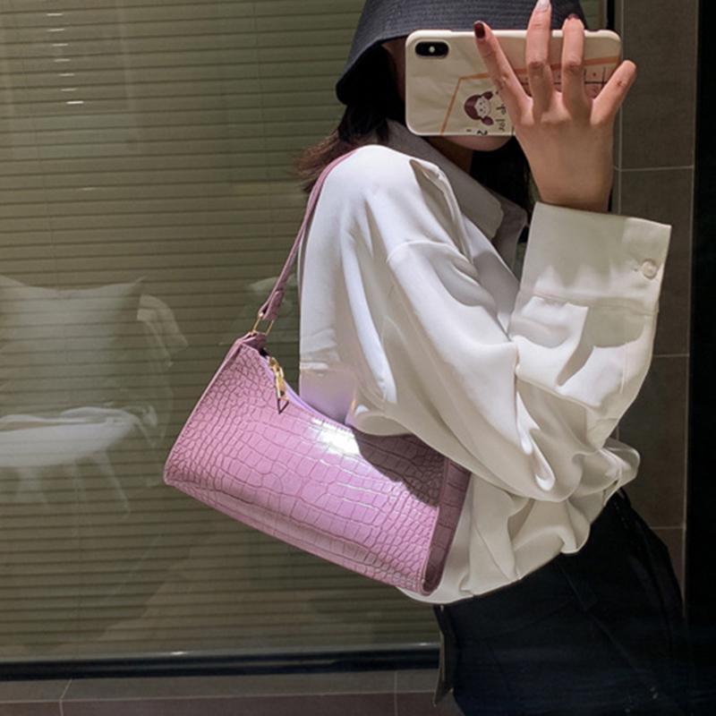 Retro Alligator PU Leather Handbag Women Casual Zipper Totes Shoulder Bags