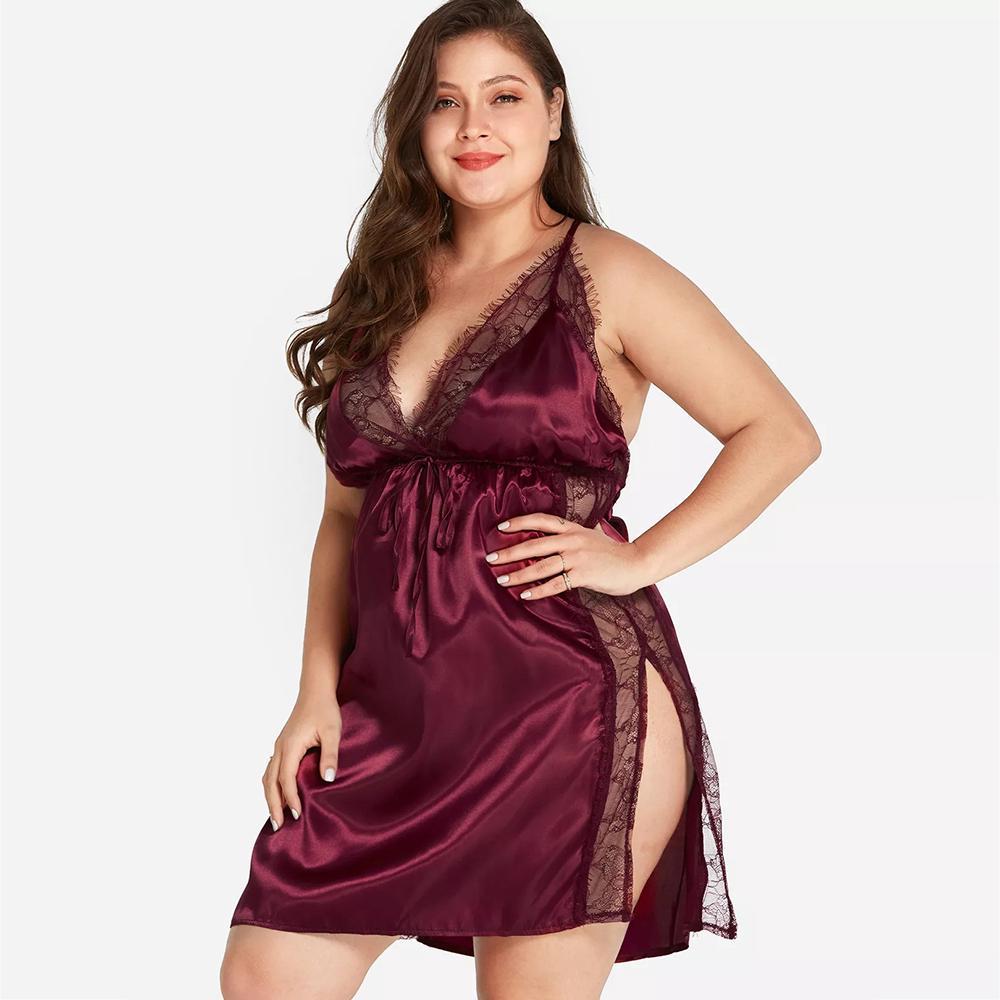 Plus Size Lingerie Women Ladies Silk Lace Dress Babydoll Nightdress Sleepwear
