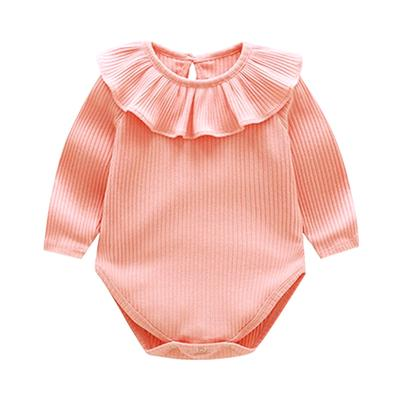 Summer Infant Baby Ruffles Solid Cotton Vest Sleeveless Jumpsuit Romper Clothes