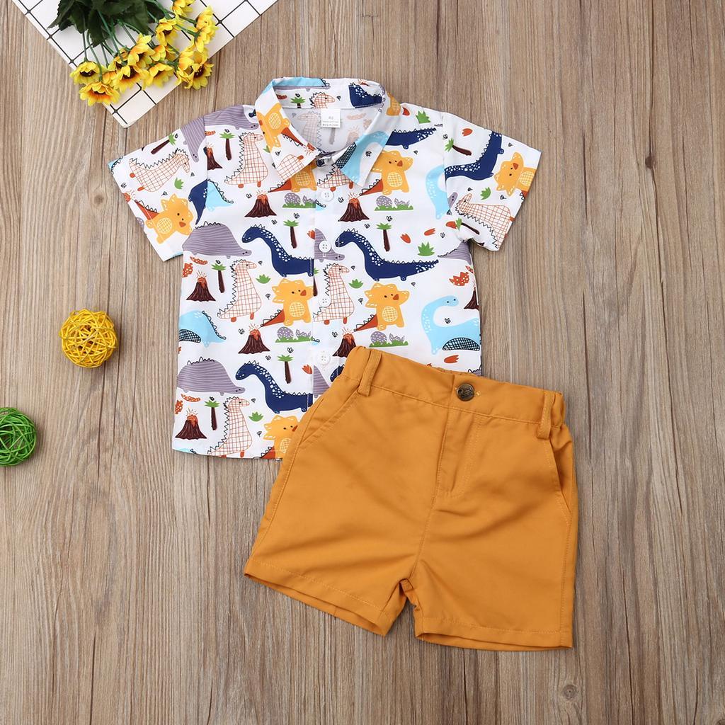 Toddler Kids Baby Boy Cute Cartoon Dinosaur T Shirt Tops Camo Shorts Outfits Set