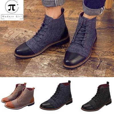 venta caliente online e21a1 bb884 Botas de hombre zapatos casuales de cuero con cordones redondos