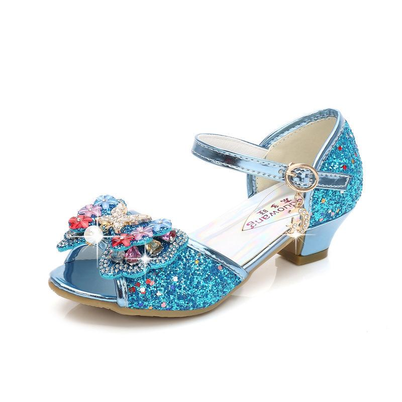 Kids Girl Butterfly Sandals Sequin Pearl High Heels Princess Crystal Jelly Shoes