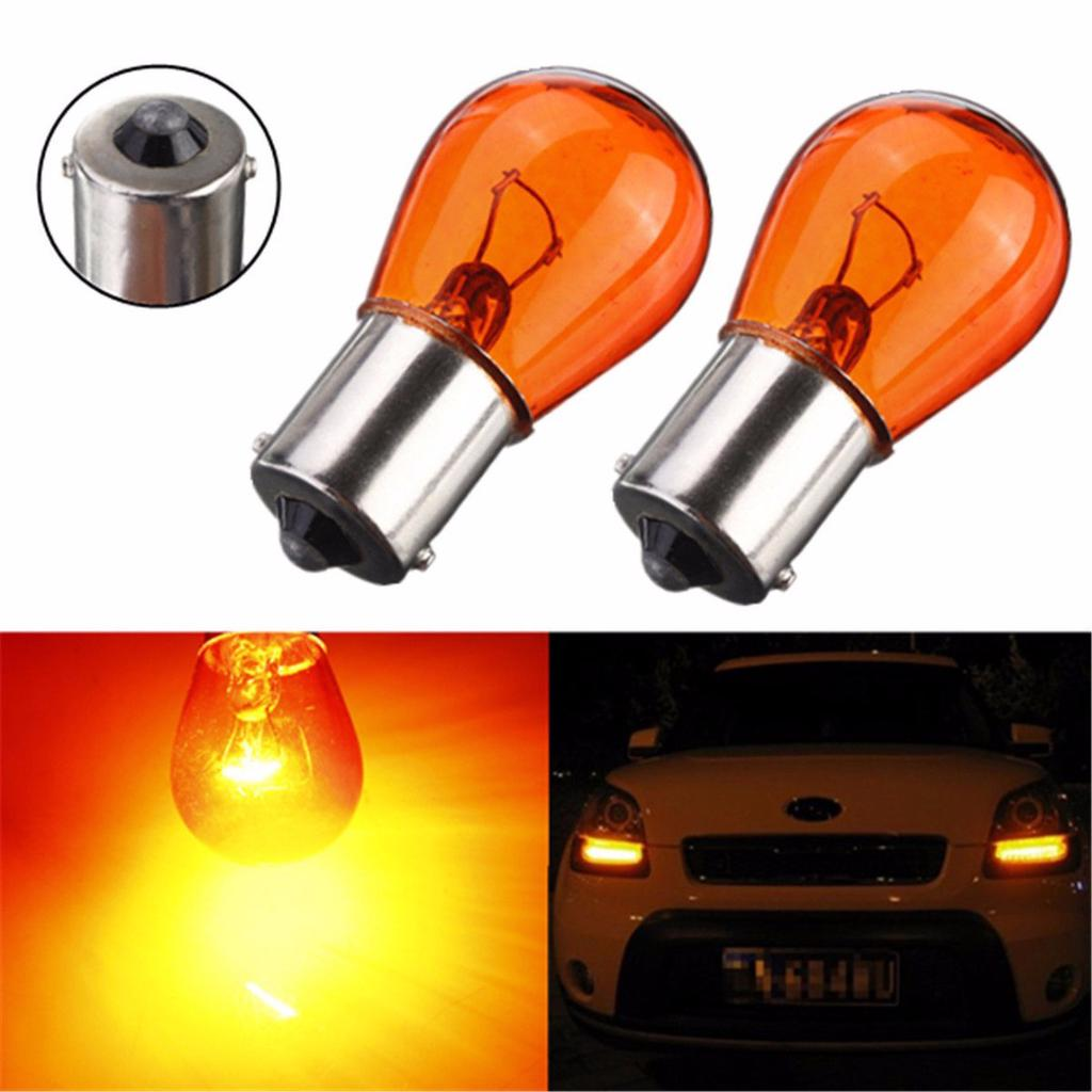 BAU15S,581,PY21w 12v Indicator Light Bulbs 2x Amber 19-LED