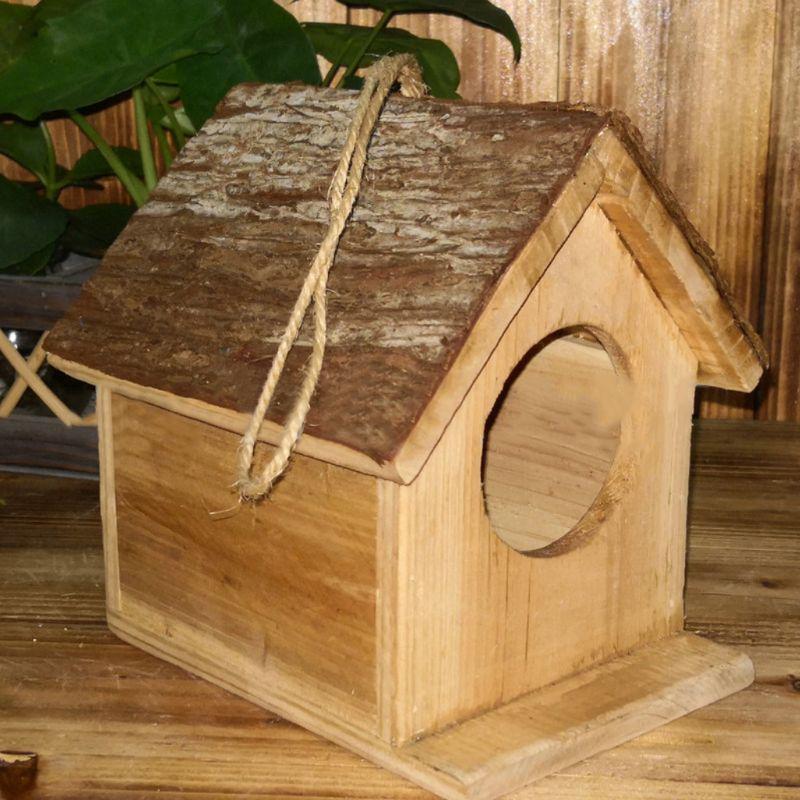 Wooden Bird House Birdhouse Hanging Nest Nesting Box W// Hook Home Ornament