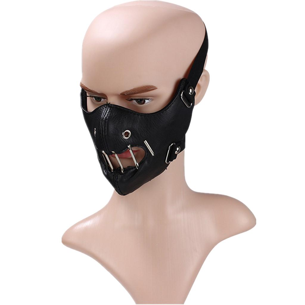 Full Face Skeleton Mask PU Leather Gothic Rider Windproof Motorcycle Black