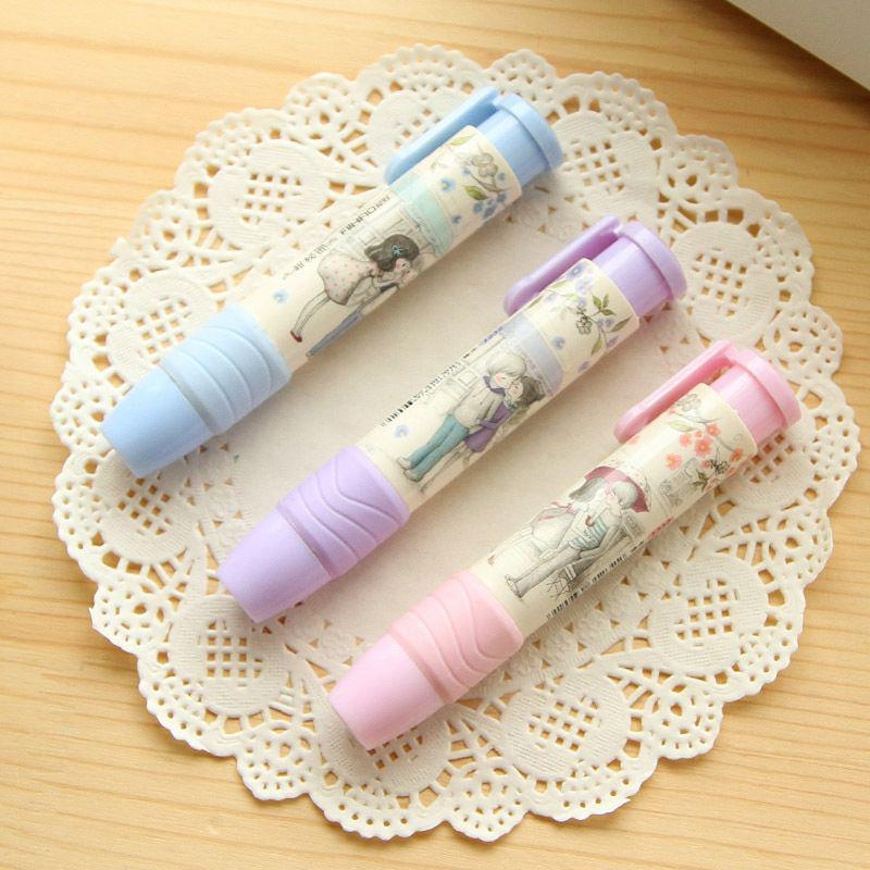 Funny Kids Creative Press Eraser Rubber Pen Shaped Writing Drawing Pencil Rubber