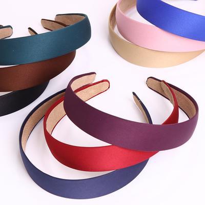 New Women Wide 3cm Plain Satin Fabric Covered Headband Hair Hairband HeadBand US