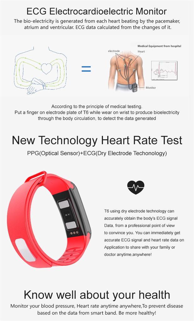 Teamko T6 Health Ecg Heart Rate Monitor Smart Band Blood Pressure Watch  Sleep Fitness Tracker