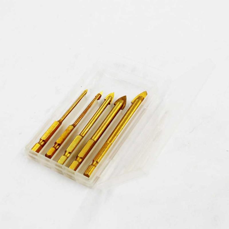 5Pcs Head 10mm Triangular Ceramic Alloy Drill Tool Set Mirror Glass Tile new