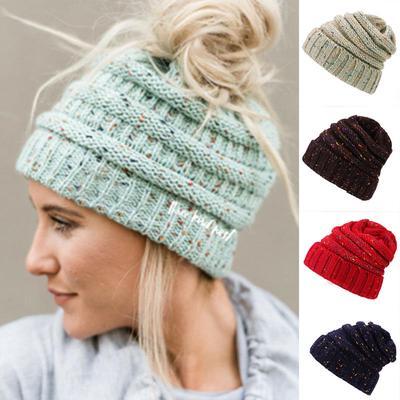 e60383597fa3b Fashion Women Winter Ponytail Warm Caps Beanie Wool Knitted Hat