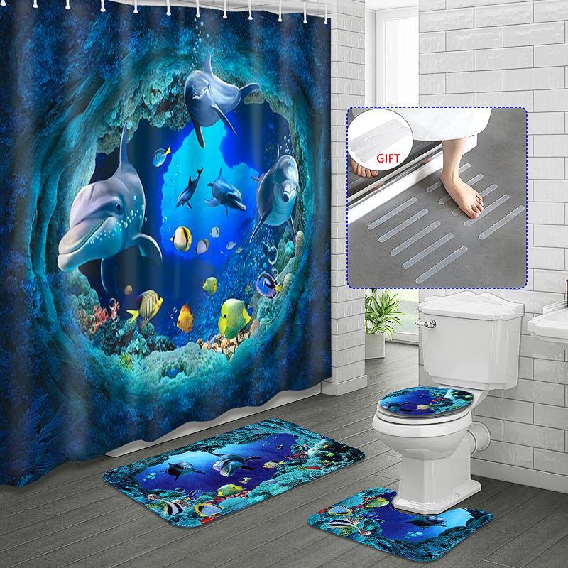 4pcs Set 3d Ocean Dolphin Pattern, Fish Bathroom Sets