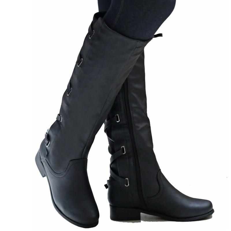 Womens Leather Knee Calf Wide Leg High Slouchy Boots Ladies Thermal Flat Shoes