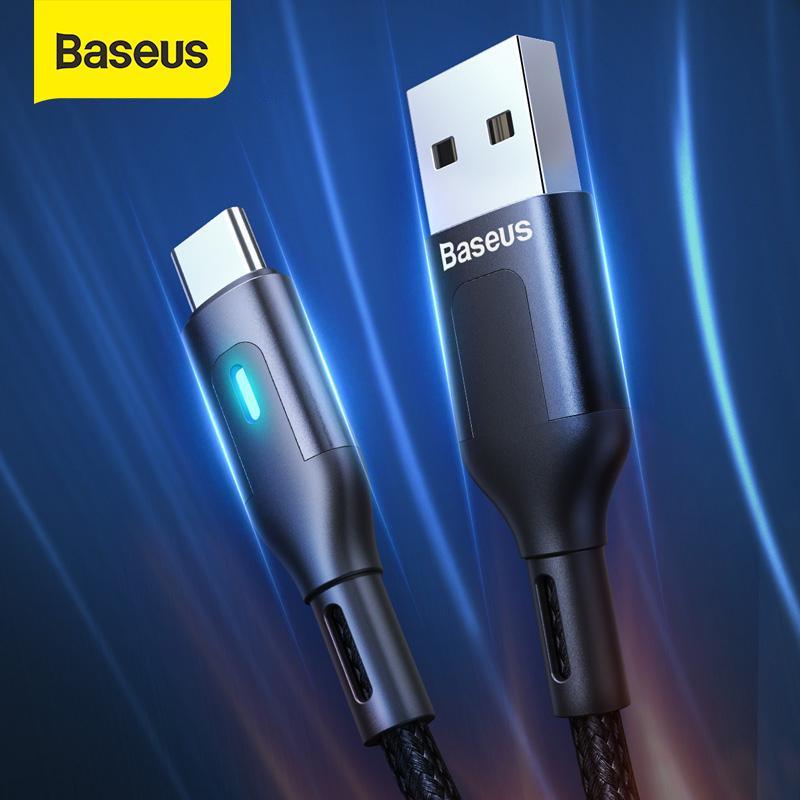 Baseus led USB Тип C Кабель для Samsung S9 S10 Быстрая зарядка 3.0 Тип C Кабель для Huawei P30 Зарядное устройство