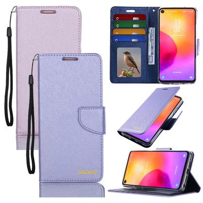 Natural Silk Wallet Leather Card Holder Book Design Stand Flip Phone Case For iPhone Samsung Huawei