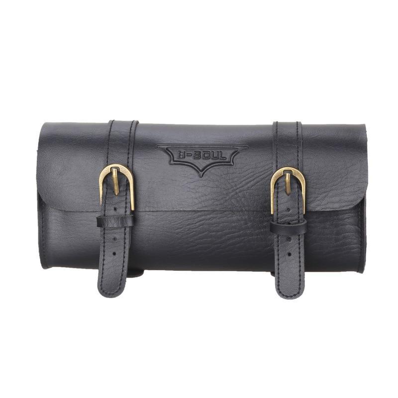 Leather Bike Saddle Seat Bag Vintage Handlebar Frame Front Tube Bag Waist Pack